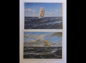 2 Wiechmann-Bilderkarten Segler auf dem Atlantik ♥ (51498)