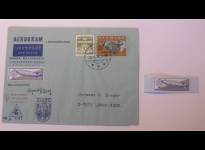 Zeppelin-Ballonpost Aerogram Dänemark Ballonskipper mit Vignette 1976 ♥(51209)