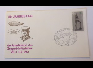 Zeppelin 50,Jahrestag Der Amerikafahrt des Zeppelinluftschiffes 1974 ♥(33757)