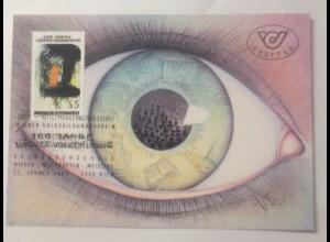 Maximumkarte Arnulf Rainer mit dem Titel Das gebildete Auge 1987 ♥ (74937)