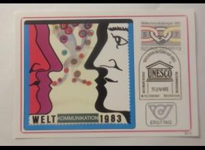Maximumkarte Sondermarke Weltkummunikationsjahr Unesco 1983 ♥ (74965)