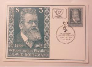 Maximumkarte 75. Todestag von Prof. Ludwig Bolzmann Physiker 1981 ♥ (74970)