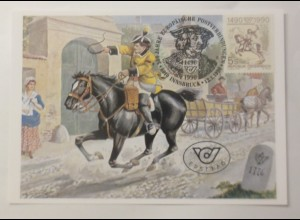 Maximumkarte 500 Jahre europäische Postverbindung 1990 ♥ (74980)