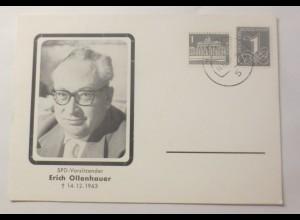 Sonderkarte Erich Ollenhauer Spd-Vositzender 1963 ♥ (75078)