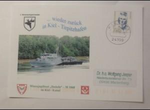 Sonderkarte Minenjagdboot Datteln M 1068 im Kiel-Kanal 1996 ♥ (75085)