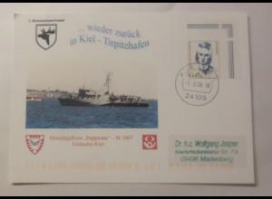 Sonderkarte Minenjagdboot Rappenau M 1067 Einlaufen Kiel 1996 ♥ (75086)