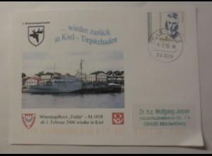 Sonderkarte Minenjagdboot Fulda M 1058 ab 1.Februar 2006 wieder in Kiel♥(75087)