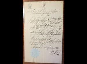 Altes Dokument aus Heiligenstadt aus dem Jahr 1843 mit Siegel ♥ (A26)