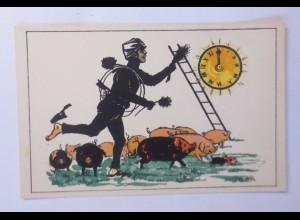 """""""Neujahr, Schornsteinfeger, Uhr, Schwein"""" 1930 ♥ (43961)"""