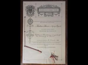 Dokument Patent-Urkunde 1907 Kaiserliches Patentamt Leipzig-Plagwitz ♥ (A43)