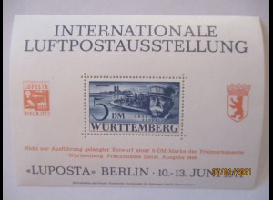 5 DM Graf Zeppelin LUPOSTA Berlin 1971 Vignettenblock (23095)