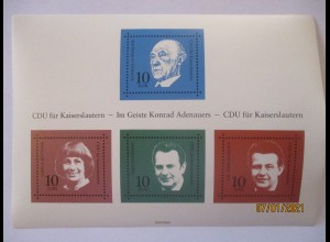 Politik CDU Kaiserslautern Vignettenblock Konrad Adenauer wie Block 4 (75000)