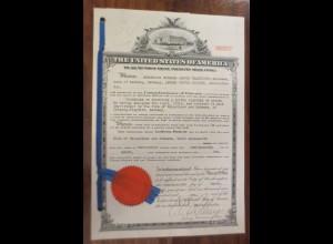 Dokument Patent USA 1910 Kaiserl. Patentamt Leipzig-Plagwitz mit Siegel ♥ (A47)