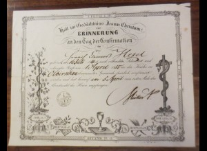 Erinnerung an den Tag der Konfirmation Jahr aus Obernhau in Sachsen 1855♥(A55)
