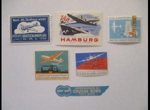Luftpost Flugzeuge Luftfahrt Deutschland, 6 xx Vignetten 50er Jahre (30037)