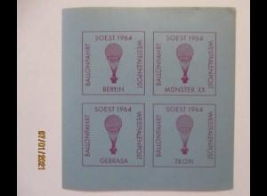 Ballonpost Soest 1964, postfrischer Vignettenblock (70420)