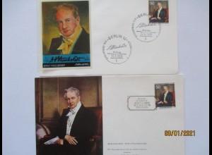 Alexander von Humboldt, 2 FDC 1969, Deutschland und Venezuela (18962)