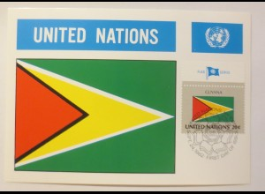 Maximumkarte Fahnen der Nation Guyana 1982 ♥ (75206)