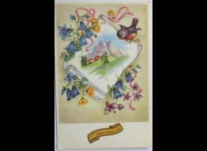 Ostern, Berge, Vogel, Blumen, 1952 ♥ (6496)
