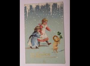 """""""Neujahr, Kinder, Eiszapfen, Schwein, Kleeblatt"""" 1913, Prägekarte ♥ (35698)"""