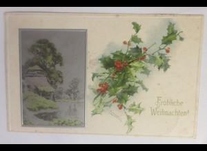 Weihnachten, Winterlandschaft, Kirche, Stechpalmen, 1907,Prägekarte ♥ (72196)