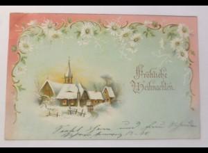 Weihnachten, Jugendstil, Winterlandschaft, Kirche, 1902 ♥ (38302)
