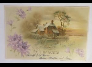 Weihnachten, Winterlandschaft, Haus, Blumen, 1905 ♥ (63932)