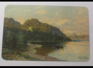 Künstlerkarte, Landschaft, Wald, See, Boot, 1901, M.Müller ♥ (24809)