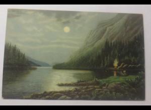 Künstlerkarte, Landschaft, Mond, Mänskinnatt Norwegen 1902, Max Müller ♥ (59803)