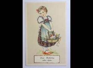 Muttertag, Kinder, Mode, Korb, Blumen, 1930, Glitzerkarte ♥ (39099)