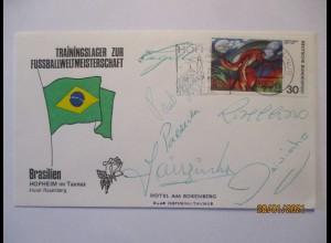 Fußball WM 1974 Team Brasilien, Brief mit 6 Autogramme: Rivelino, Cesar (36378)
