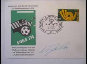 Fußball WM 1974 Sonderkarte Autogramm Uwe Seeler (71254)