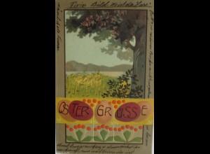 Ostern, Fixier Bild? Ostereier, Landschaft, 1907, Prägekarte ♥ (4675)
