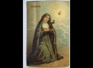 Religion Nonne Kreuz brennendes Herz mit Kette, Druck ca. 8 mal 6 cm (56039)