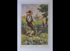 Märchen, Haus im Glück, 1910, sig. G. Hinke Serie 298, Nr.4773 ♥ (17532)