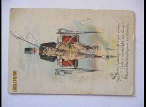 Hochzeit, kleine Klappkarte ca. 1900 Kutsche Spruch (40573)