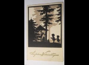 Weihnachten, Kinder, Wald, Rehe, 1932,Scherenschnitt ♥ (26781)