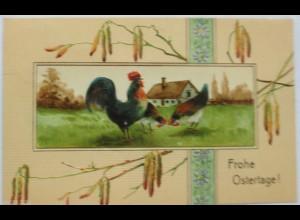 Ostern, Huhn, Landschaft, Haus, 1908, Prägekarte ♥ (8021)