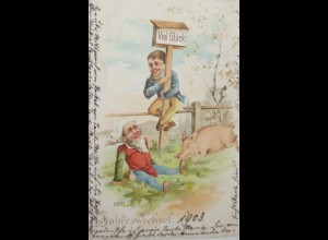 Neujahr, Zwerg, Schwein, 1902 ♥ (20467)