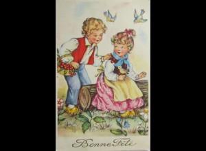 Ostern, Kinder, Baumstamm, Vogel, 1955 ♥ (6490)