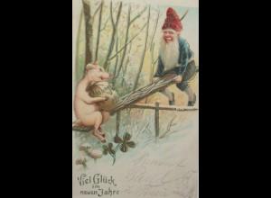 Neujahr, Zwerg, Schwein, Wippen, Münzen, Pilz; 1906, Golddruck ♥ (17700)