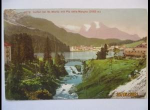 St. Moritz Graubünden, Innfall mit Piz della Margna, 1909 (42728)