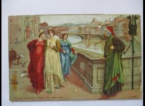 Italien Florenz, Dante und Beatrice Portinari, Kunst ca. 1910 (20663)