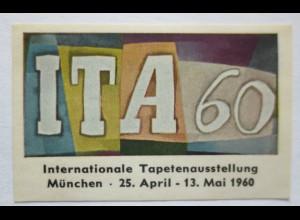 Tapete, Einrichtung, Ausstellung München 1960, postfrische Vignette