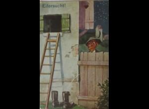 """""""Scherzkarte, Männer, Eifersucht, Stiefel, Pinkeln"""" 1910 ♥"""