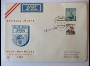 Österreich, Lufthansa Erstflug zur Industriemesse 1960 in Hannover