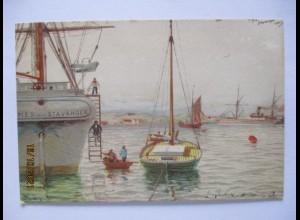 Norwegen Stavanger Hafen Künstlerkarte ca. 1900 (9738)