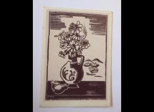 Scherenschnitt, Vase, Blumen, 1945 ♥ (52137)