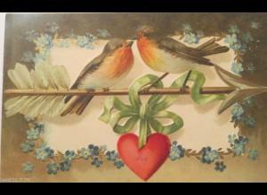 """""""Vogel, Liebespeil, Herz"""" 1906, Prägekarte ♥ (17799)"""