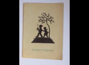 Scherenschnitt, Kinder, Rauchen, 1947, Hugo Becher ♥ (52132)